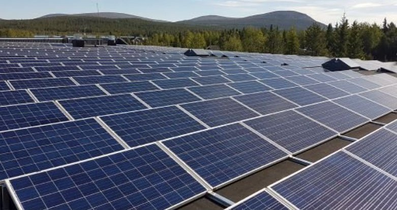 Solar power plant on a roof in Lapland