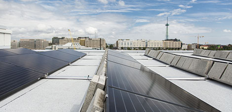Good output from the new solar power system in Pasila