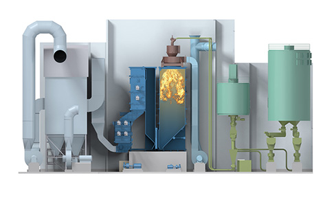 Conceptual drawing of the pellet-fired boiler in the Salmisaari wood pellet heating plant