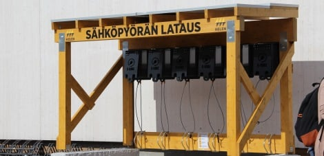A free charging station for electric cyclists in Katajanokka